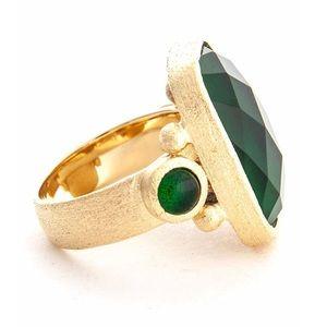 Rivka Friedman 18K Clad Facet Emerald Crystal Ring